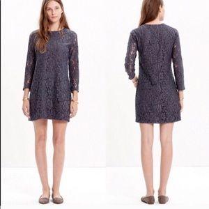 Sz 2 madewell gray lace dress EUC